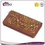 Бумажник держателя кредитных карточек бумажника застежки -молнии Brown муфты женщин выбитый PU