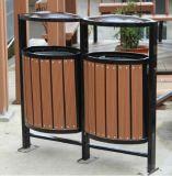Composé en plastique en bois aucune poubelle extérieure de effacement de jardin