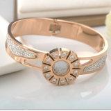 Pulseira Shaped bonita do bracelete do diamante do relógio de forma da jóia das mulheres