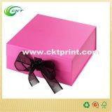カスタム立方体のボール紙のリボン(CKT-CB-401)が付いている堅いギフト用の箱
