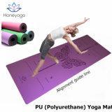 Estera pegajosa mojada y seca antirresbaladiza profesional de la yoga del poliuretano de la PU de la púrpura con la guía de la alineación del grabado del laser
