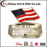 Medaglia di Pin di figura del cuore di valutazione dei costi del diametro con la polizia su ordinazione del paese del sindacato di marchio e bandierina per l'emblema 911