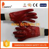 Le PVC rouge de Ddsafety a entièrement plongé des gants avec le poignet de Knit de doublure de couplage