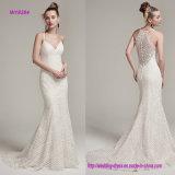 O vestido de casamento moderno e romântico da bainha do laço com cintas de espaguete e o V-Neckline destacaram com grânulos Opal