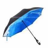 2016 إختراع جديدة [برغس] ونقطة إيجابيّة - إلى أسفل يعكس مظلة مع [ك] مقبض عكس مظلة