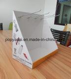 Le carton usine l'étalage de partie supérieure du comptoir avec des crochets en métal, panneau arrière avec le PVC pour renforcer le support