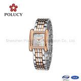 Relógio resistente de quartzo da água da parte traseira do aço inoxidável de senhora relógio