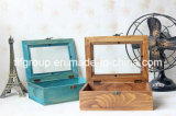 Rétro boîte de présentation en bois de guichet clair élégant