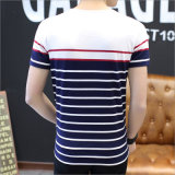 Maglietta del O-Collo degli uomini a strisce del cotone con il breve manicotto