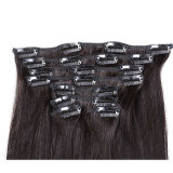 毛の拡張人間の毛髪の拡張1bまっすぐなバージンのヘアークリップInsのインドのRemyの毛のまっすぐなアフリカ系アメリカ人クリップのクリップ