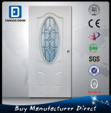 Puerta de acero interior exterior insertada vidrio oval del blanco americano de Prehung