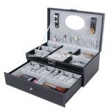 Caixa de couro preta do armazenamento do organizador do relógio da caixa de jóia 6 com fechamento & espelho