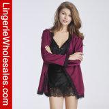 Шнурок женщин и платье Sleepwear Nightgown роб эмулирования Silk