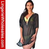 El traje de baño Chiffon escarpado del V-Cuello de la manera de las mujeres cubre para arriba la alineada del Beachwear
