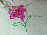 3PCS gebleekt Wit 100% de Geborduurde Reeks Bedsheet van de Polyester Bloem