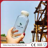 Frasco de vidro plástico esquadrado 250ml por atacado do suco com tampa plástica