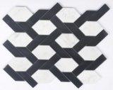Hexagon Marmer van de schuine rand en Mozaïek van de Mengeling van het Glas voor de Zaal van de Keuken