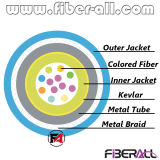 12fibers cubierta Cable blindado con tubo de metal y malla de fibra de color