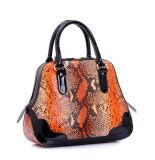 良質の女性のための安い価格の大蛇プリント革ハンド・バッグ