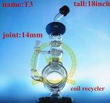 Tubo de agua de cristal verde embriagador del cubilete 1bubble del tabaco de la corona T15 del reciclador del color del tazón de fuente del arte de los tubos de cristal de cristal altos de cristal del cenicero