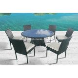 Table à manger en osier pour extérieur, intérieure avec 6 chaises / SGS (6214)