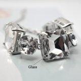 De gefacetteerde Witte Ronde Vierkante Regelbare Armband van de Kleur van de Armbanden van het Glas Zilveren