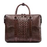 Pasta genuína do couro do crocodilo do saco feito sob encomenda luxuoso do negócio dos homens do presente