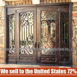 Porte simple de fer et moderne en verre travaillée en gros de sûreté de type