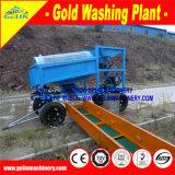 沖積可動装置100tphの金の洗浄のトロンメル機械、時間の金の鉱石の洗浄のプラントごとの200トン