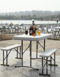Sales chaud 3PCS Easy Carrying Plastic Folding Barbecue Beer Table Sets avec 2 Chairs