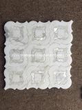 Tuile de mosaïque de marbre blanche de modèle Waterjet de fleur