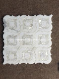Waterjet 꽃 디자인 백색 대리석 모자이크 타일