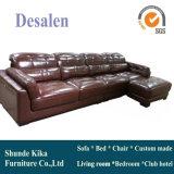 L sofa de cuir de couleur de Brown de forme, meubles à la maison (909)