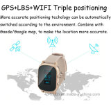 Reloj del perseguidor del GPS con la correa de cuero extendida (T58)
