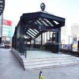 Baldacchino d'acciaio superiore del riparo alla metropolitana, parcheggio sotterraneo, stazione ferroviaria