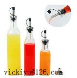 Bouteille de vinaigre de bouteille d'huile en verre de 150 ml avec une couche de métal