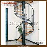 Escadaria de madeira espiral interna/ao ar livre do aço inoxidável do metal (SJ-S039)