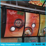 Panneau indicateur fixé au mur de cadre léger de menu de restaurant de DEL