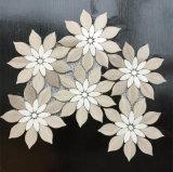 Natural Beige Azul Forma Mármol flor de pared de mosaico de piedra