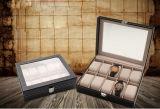 10 ranuras de rectángulo de regalo del reloj del cuero de la PU del alto grado con la guarnición del ante de la primera clase, caja de embalaje del reloj