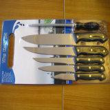 As facas 7PCS do aço inoxidável ajustaram-se com placa de estaca no. Kns-7b01