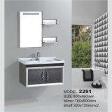 Vanità non finita d'acciaio fissata al muro della stanza da bagno con lo specchio