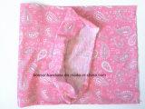 OEMの農産物の中国の工場ピンクのペーズリーによって印刷される多機能のHeadwearのスカーフ