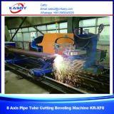 Fabricante de la cortadora del plasma del tubo del tubo del CNC del acero de carbón controlado por 5 el eje Kr-Xy5