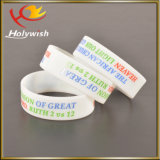 Coutume en gros de silicones de bracelet de logo d'impression de Silkscreen
