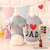 Vêtements d'animal familier d'impression de couche de crabot de coton de Dad&Mom de mode
