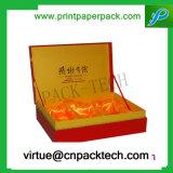 Rectángulo de regalo de cristal modificado para requisitos particulares alta calidad de la cartulina con la bandeja del satén