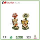 Figurine da râ do Figurine de Polyresin com luzes solares da borboleta para a decoração do jardim