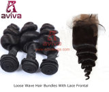 L'armure péruvienne de cheveu de Vierge d'onde desserrée empaquette le noir normal d'extensions de cheveux humains