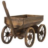 Carrinho de madeira do potenciômetro do plantador da flor do vagão do jardim com rodas